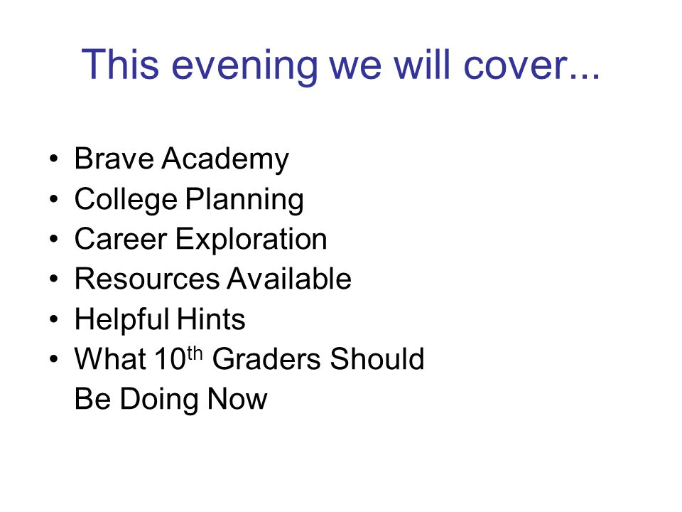 This evening we will cover...