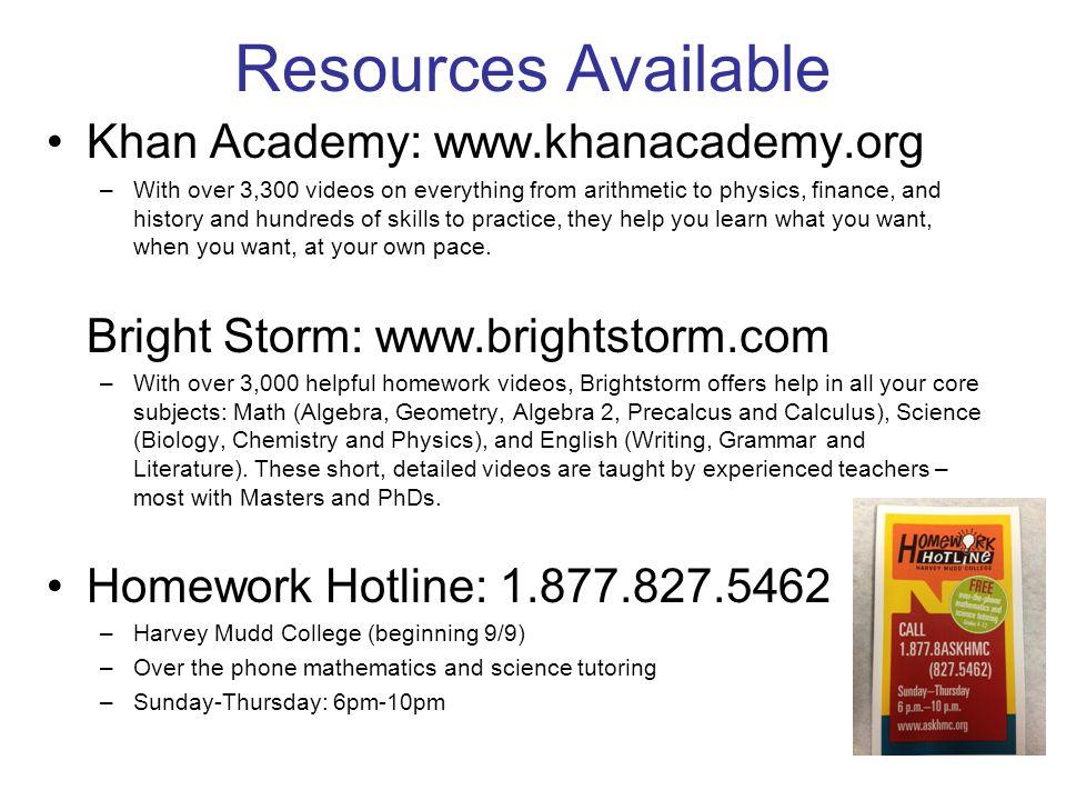 Resources Available Khan Academy: www.khanacademy.org