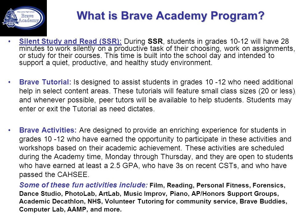 What is Brave Academy Program