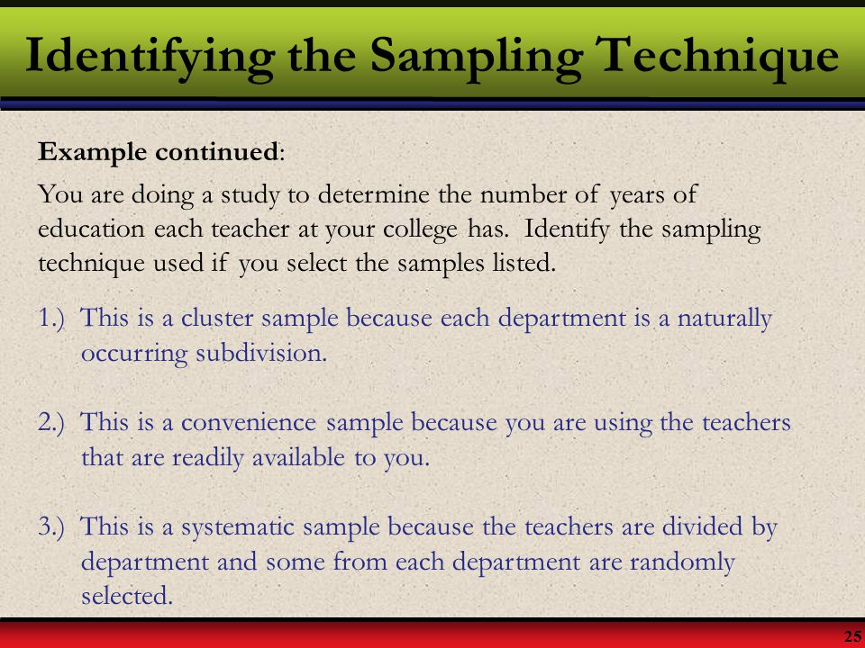 Identifying the Sampling Technique