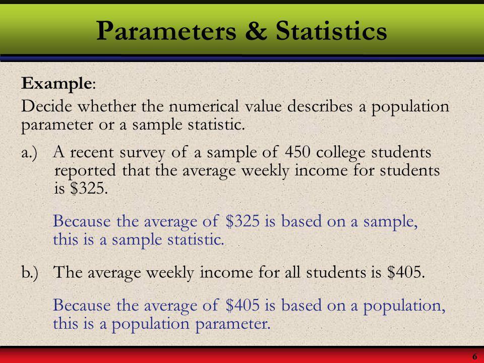 Parameters & Statistics