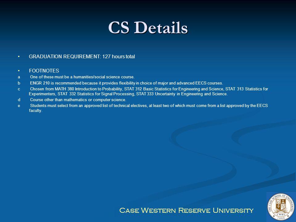 CS Details GRADUATION REQUIREMENT: 127 hours total FOOTNOTES