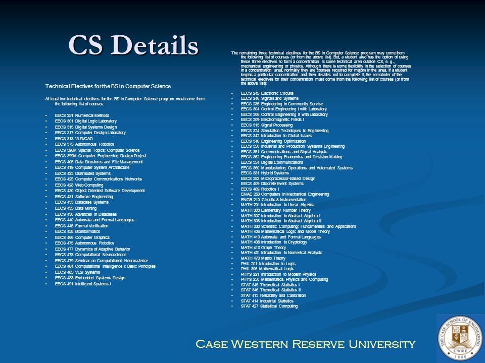 CS Details Technical Electives for the BS in Computer Science
