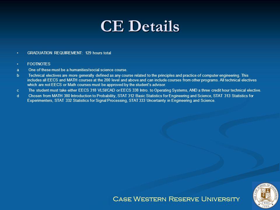CE Details GRADUATION REQUIREMENT: 129 hours total FOOTNOTES