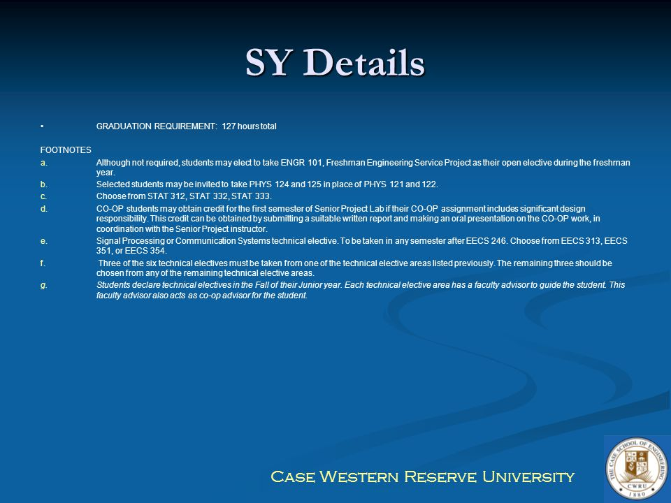 SY Details GRADUATION REQUIREMENT: 127 hours total FOOTNOTES
