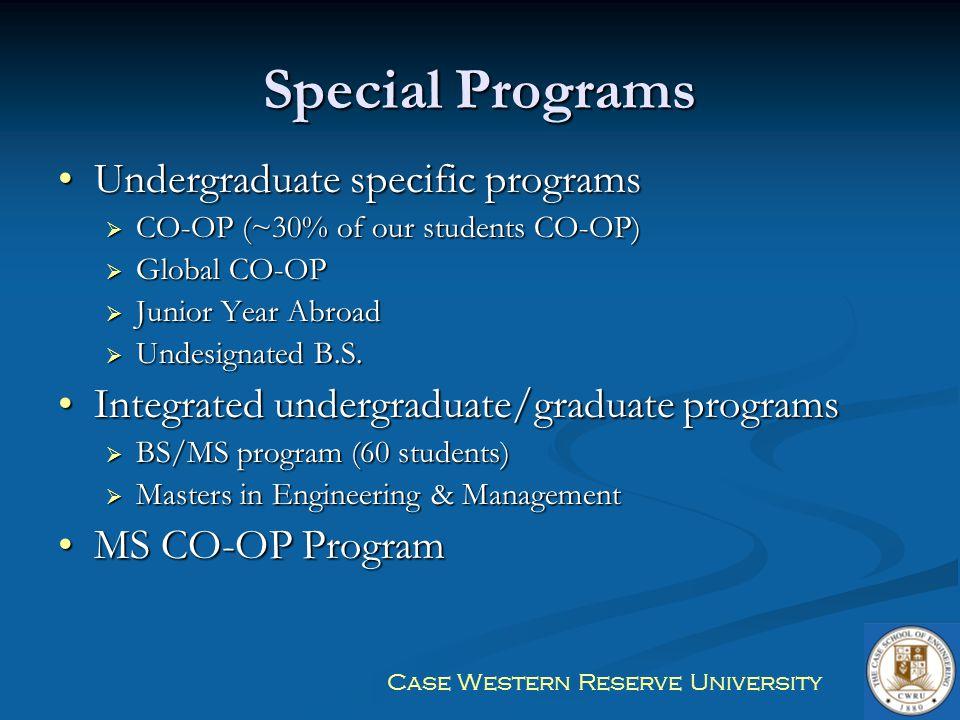 Special Programs Undergraduate specific programs