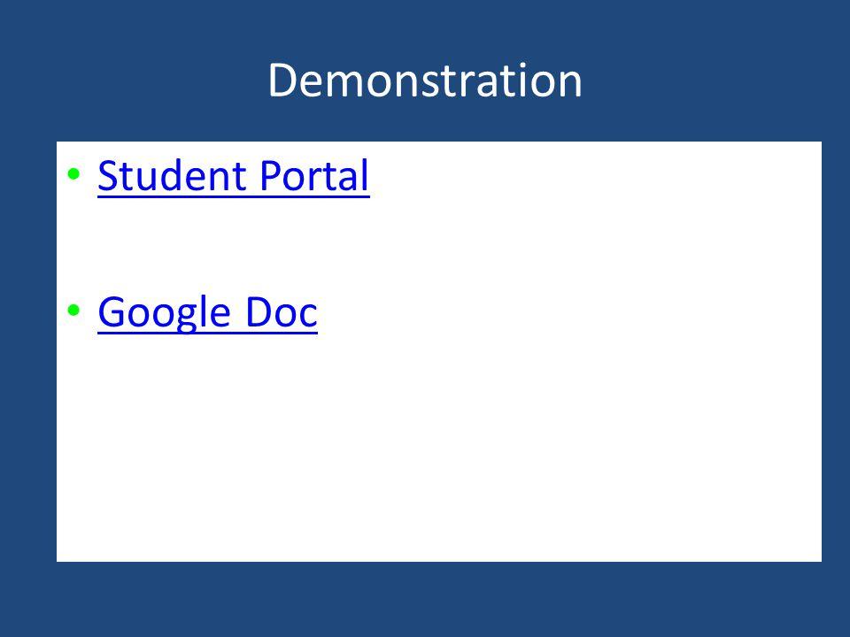 Demonstration Student Portal Google Doc