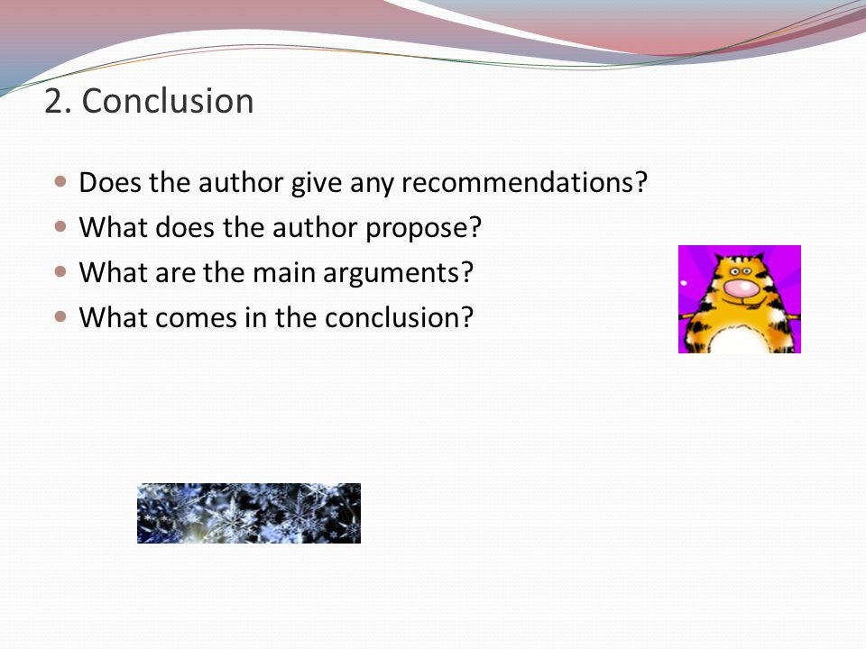 2. Conclusion Does the author give any recommendations