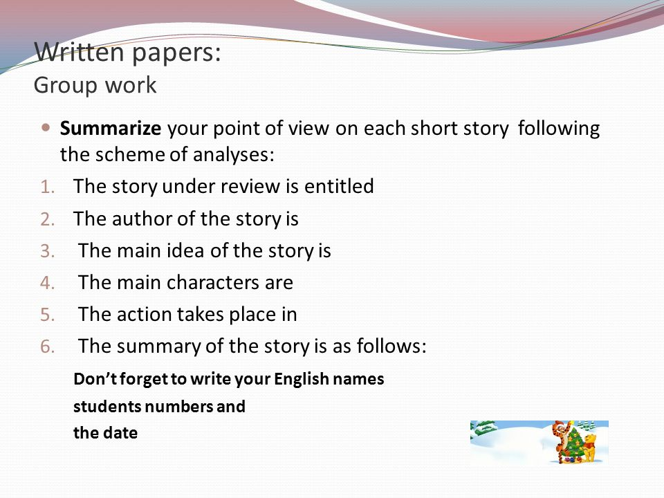 Written papers: Group work