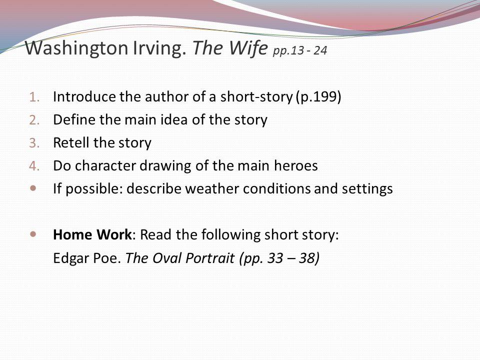 Washington Irving. The Wife pp.13 - 24