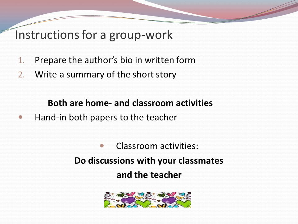 Instructions for a group-work