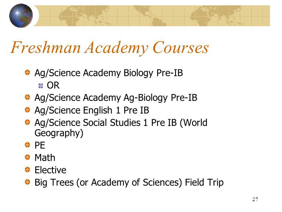 Freshman Academy Courses