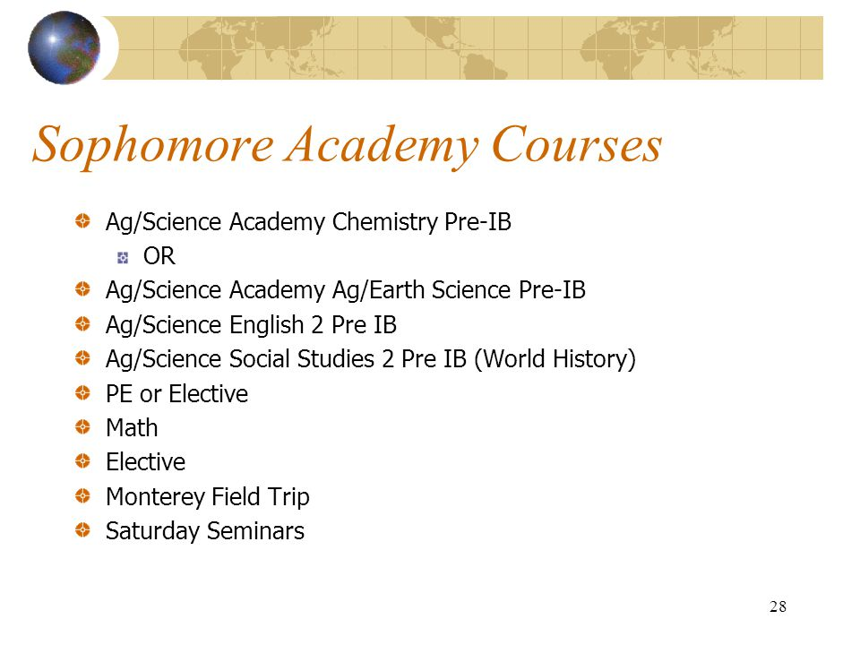 Sophomore Academy Courses