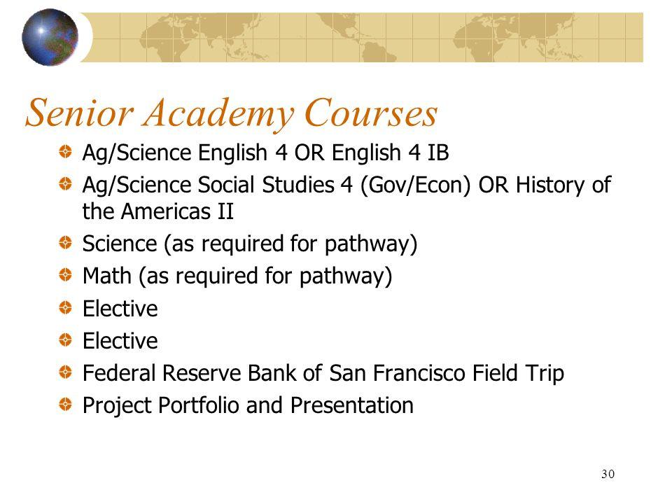 Senior Academy Courses