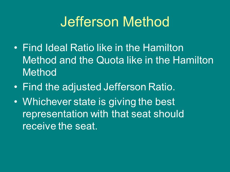Jefferson Method Find Ideal Ratio like in the Hamilton Method and the Quota like in the Hamilton Method.