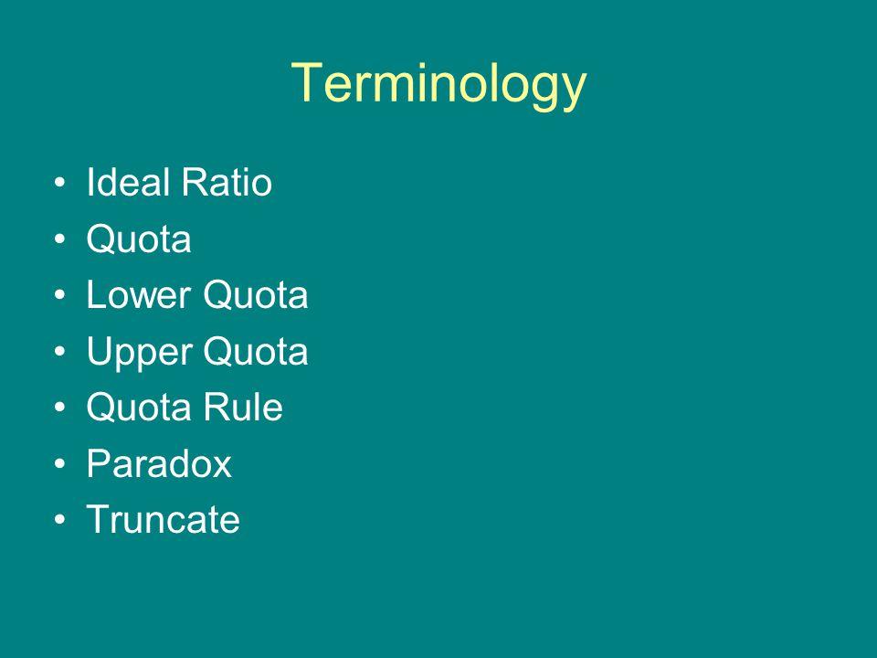 Terminology Ideal Ratio Quota Lower Quota Upper Quota Quota Rule