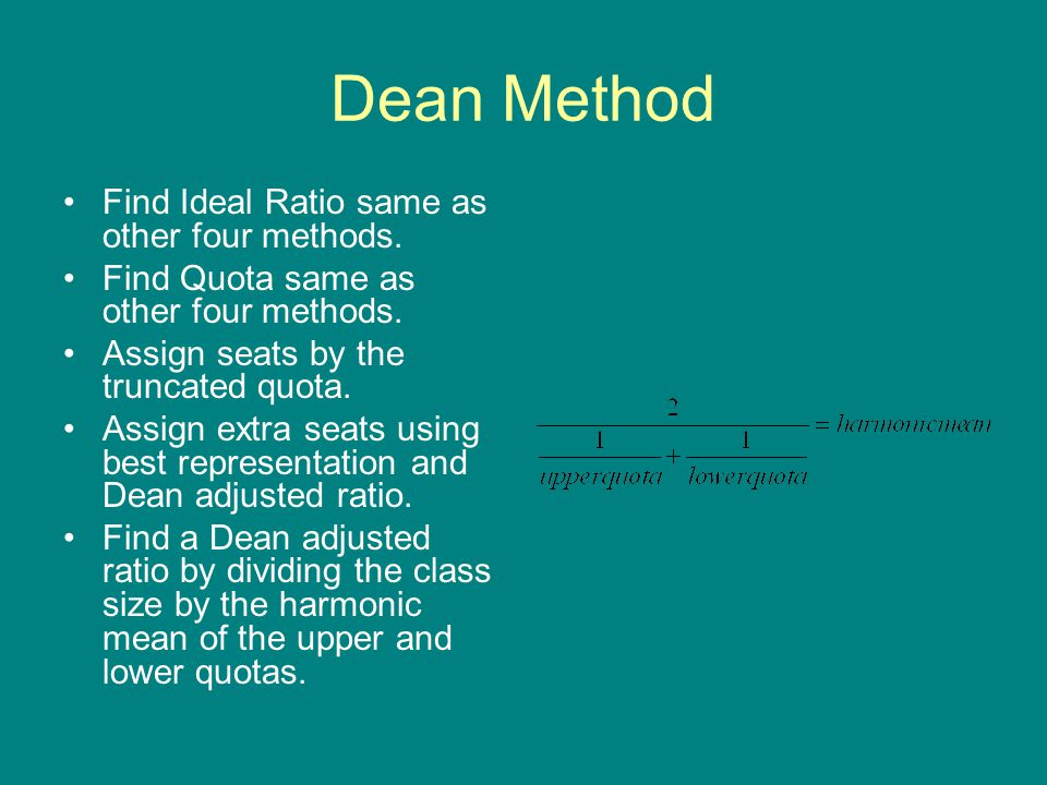 Dean Method Find Ideal Ratio same as other four methods.