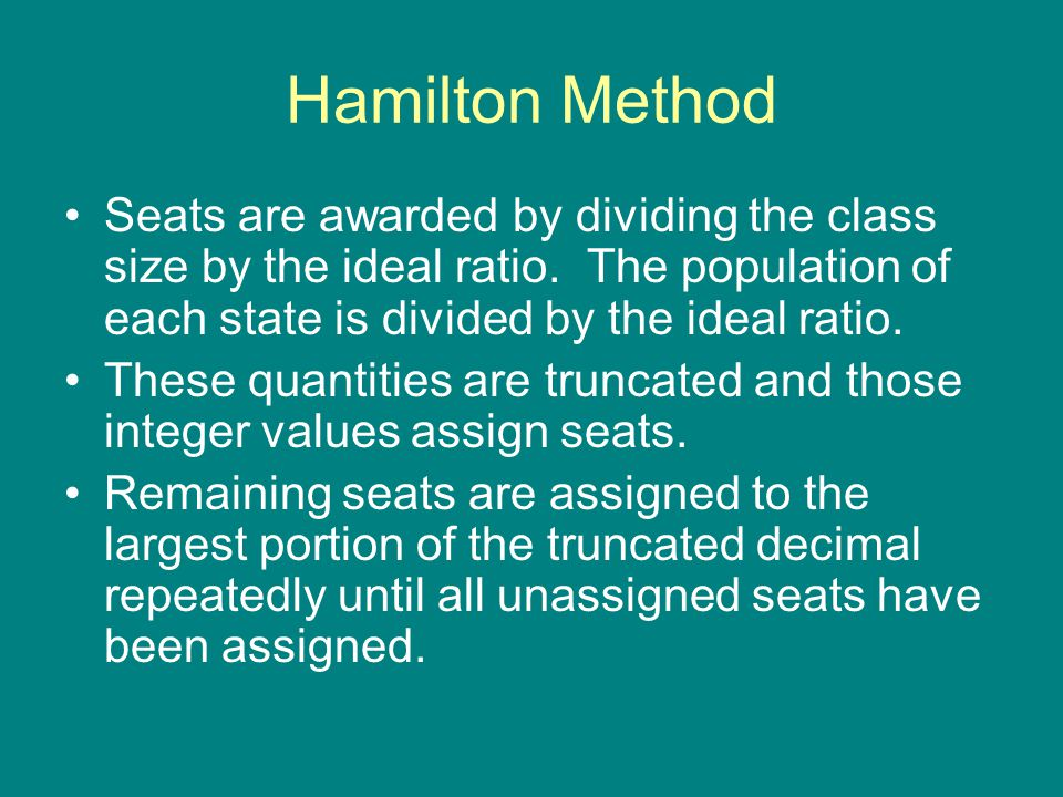 Hamilton Method Seats are awarded by dividing the class size by the ideal ratio. The population of each state is divided by the ideal ratio.