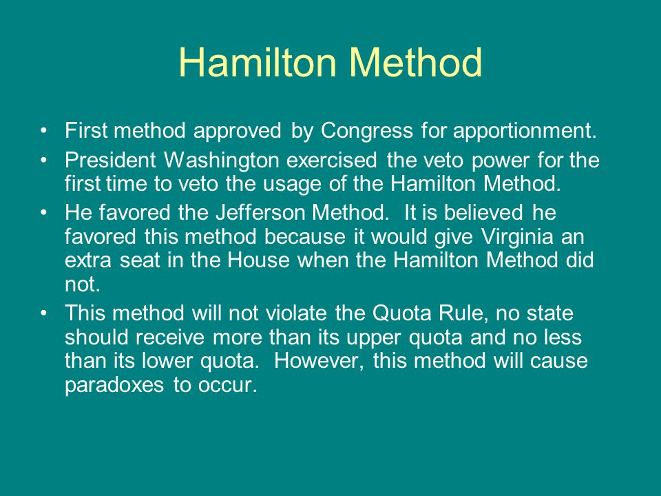 Hamilton Method First method approved by Congress for apportionment.