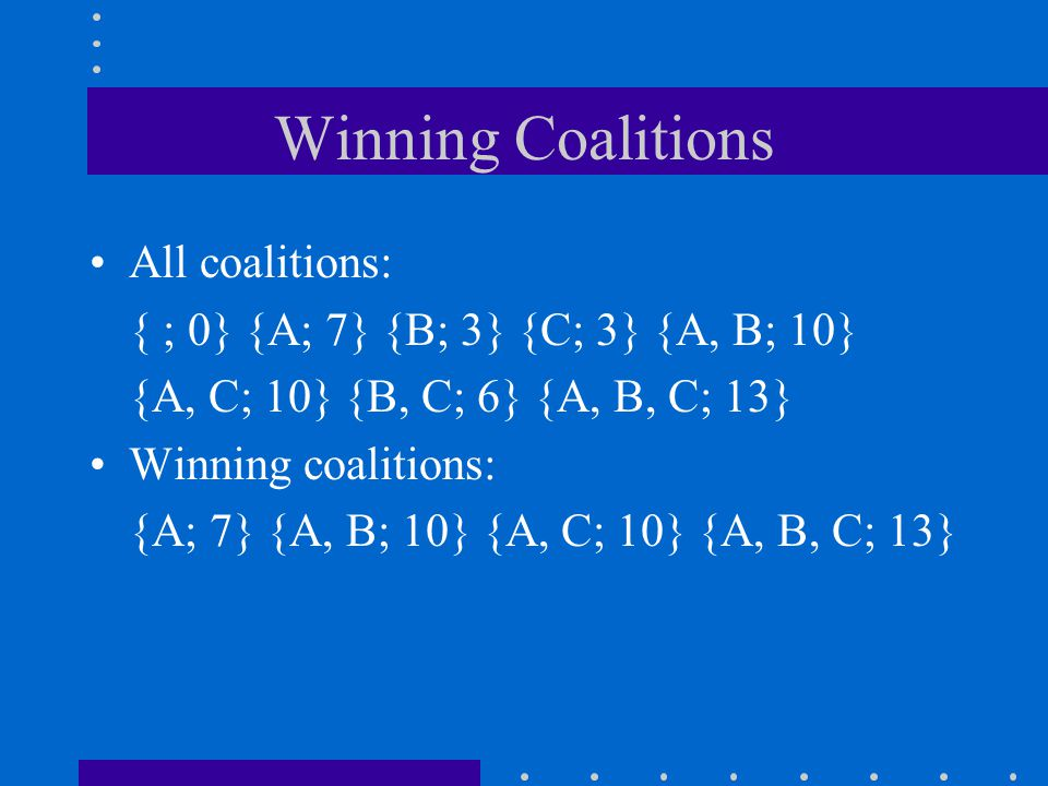Winning Coalitions All coalitions: