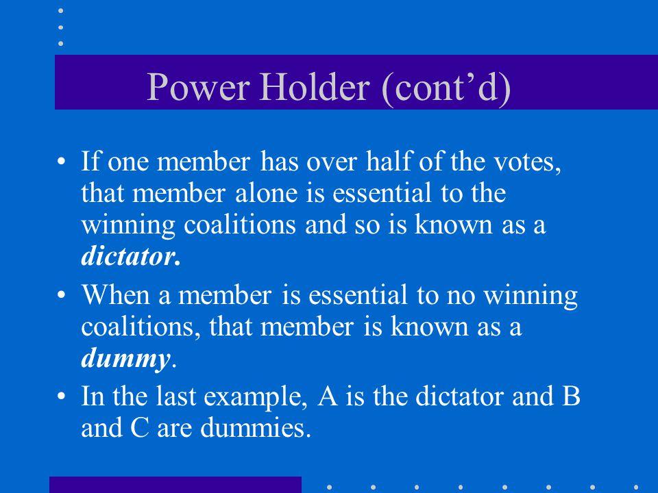 Power Holder (cont'd)