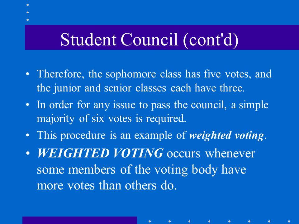 Student Council (cont d)