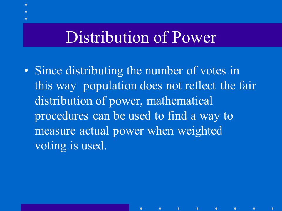 Distribution of Power
