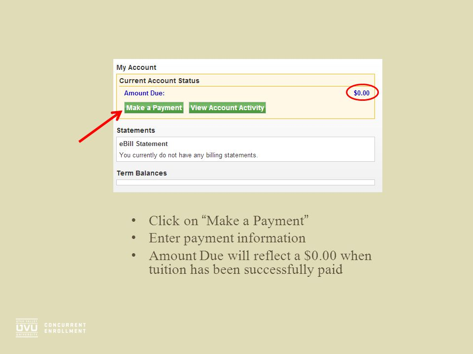 Click on Make a Payment