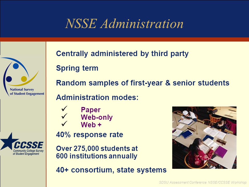 NSSE Administration Centrally administered by third party Spring term
