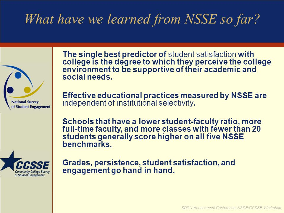 What have we learned from NSSE so far