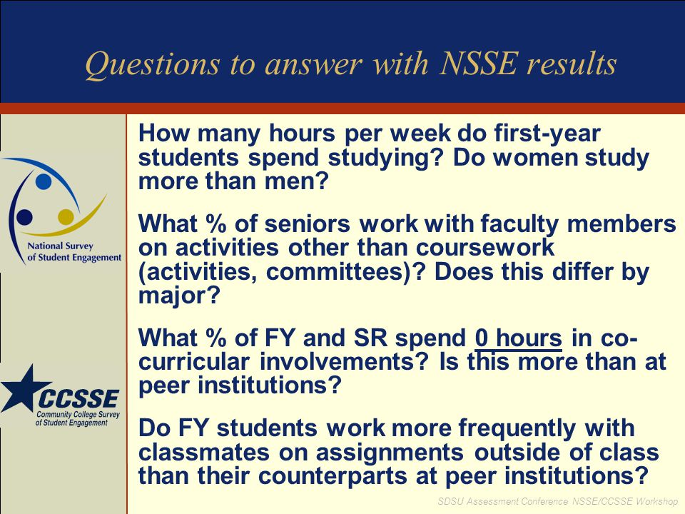Questions to answer with NSSE results
