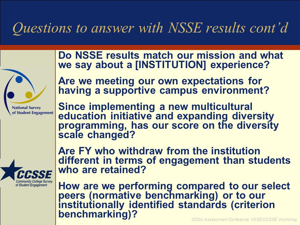 Questions to answer with NSSE results cont'd