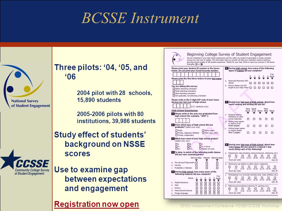 BCSSE Instrument Three pilots: '04, '05, and '06