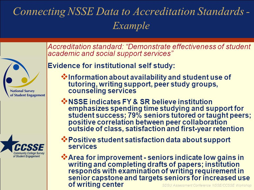 Connecting NSSE Data to Accreditation Standards - Example