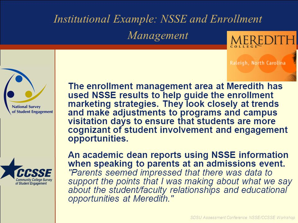 Institutional Example: NSSE and Enrollment Management