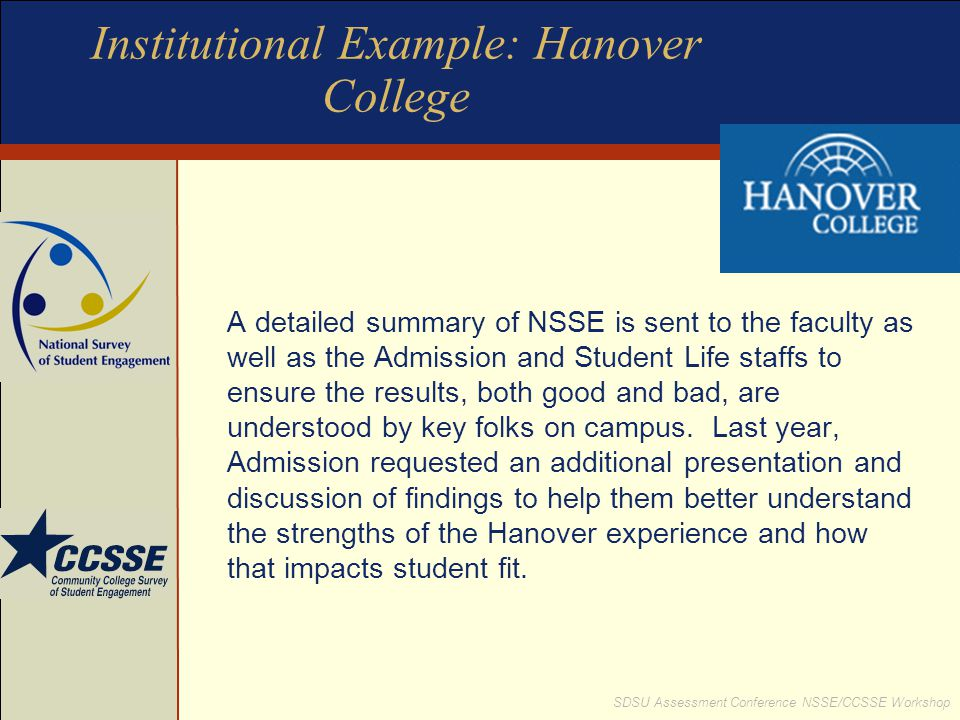 Institutional Example: Hanover College