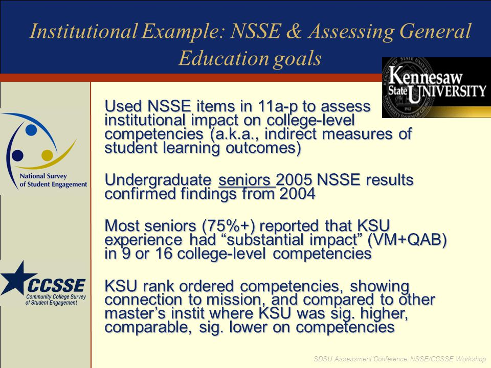 Institutional Example: NSSE & Assessing General Education goals