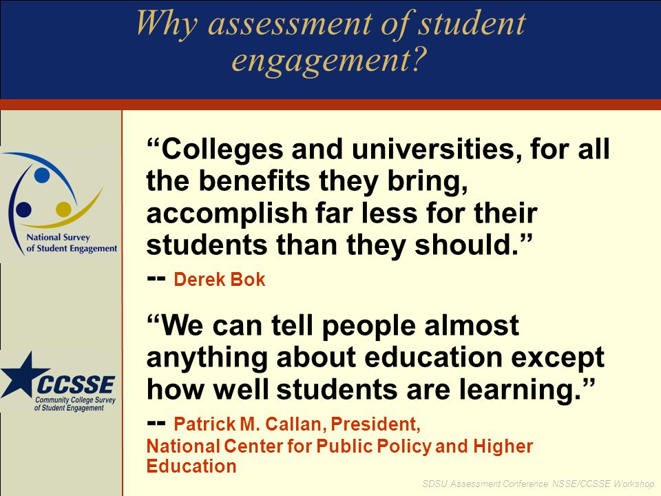 Why assessment of student engagement