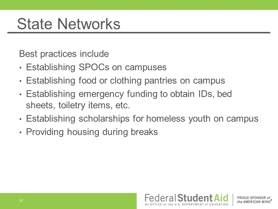 State Networks Best practices include Establishing SPOCs on campuses