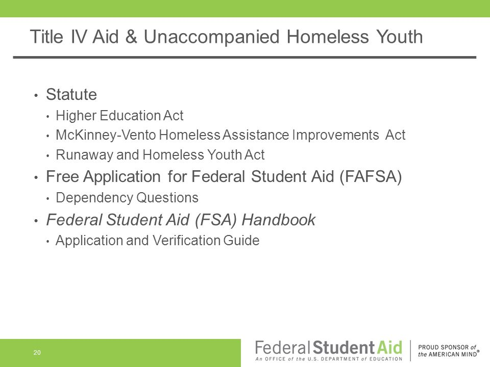 Title IV Aid & Unaccompanied Homeless Youth