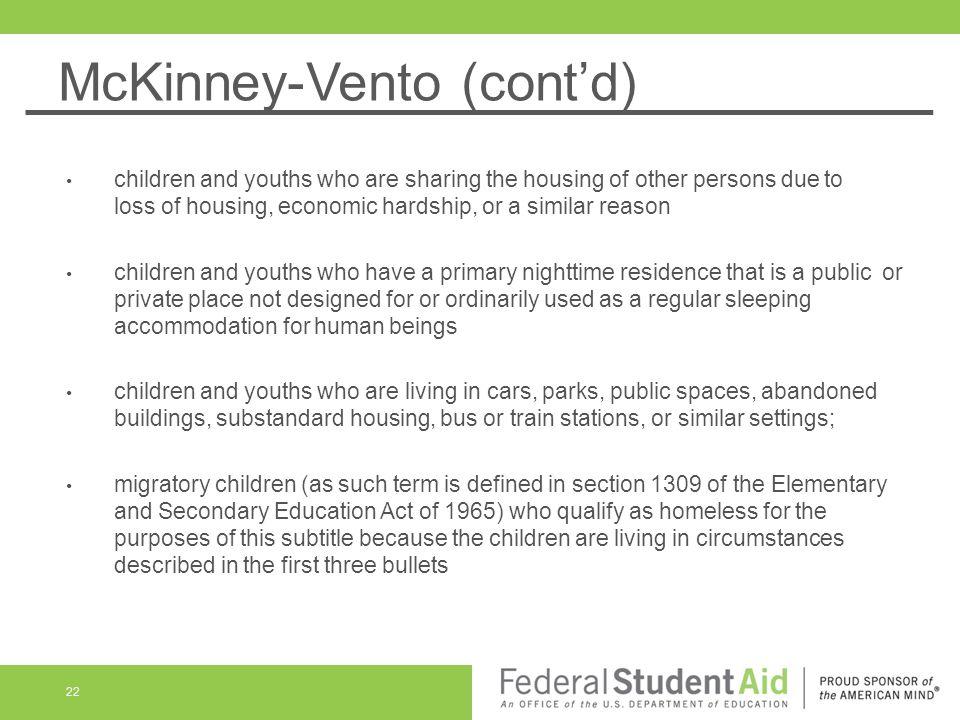 McKinney-Vento (cont'd)