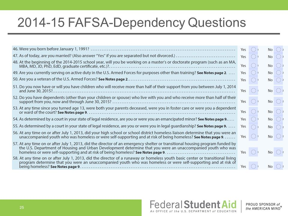 2014-15 FAFSA-Dependency Questions