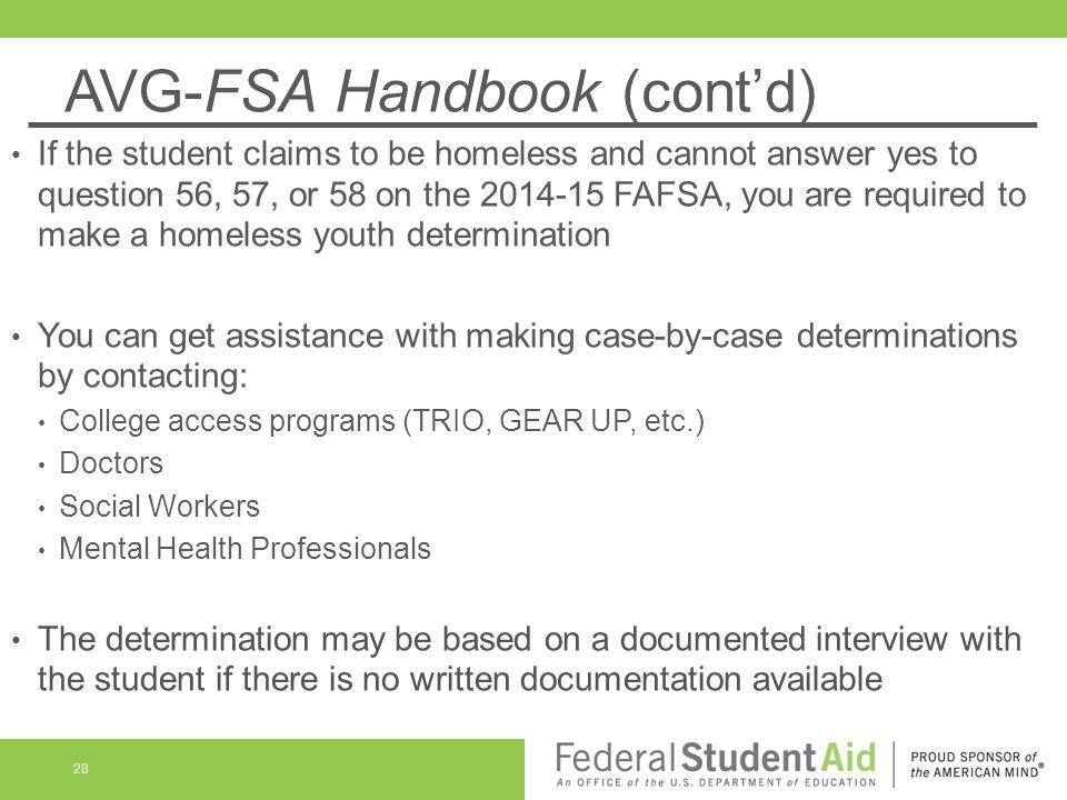 AVG-FSA Handbook (cont'd)