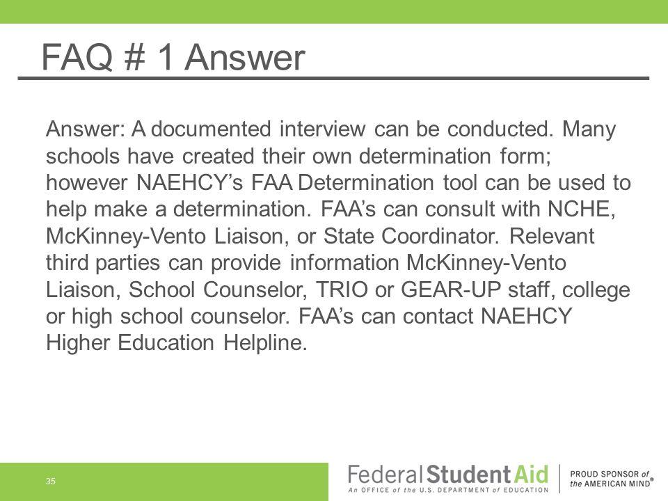 FAQ # 1 Answer