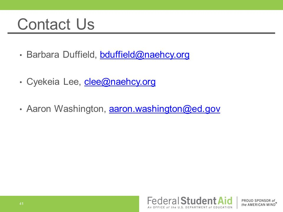 Contact Us Barbara Duffield, bduffield@naehcy.org