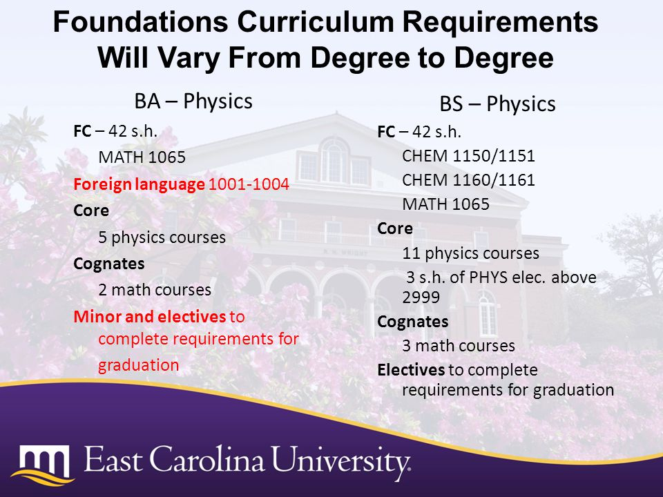 Foundations Curriculum Requirements Will Vary From Degree to Degree