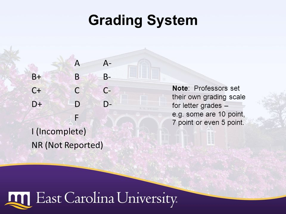 Grading System A A- B+ B B- C+ C C- D+ D D- F I (Incomplete) NR (Not Reported) Note: Professors set their own grading scale for letter grades –