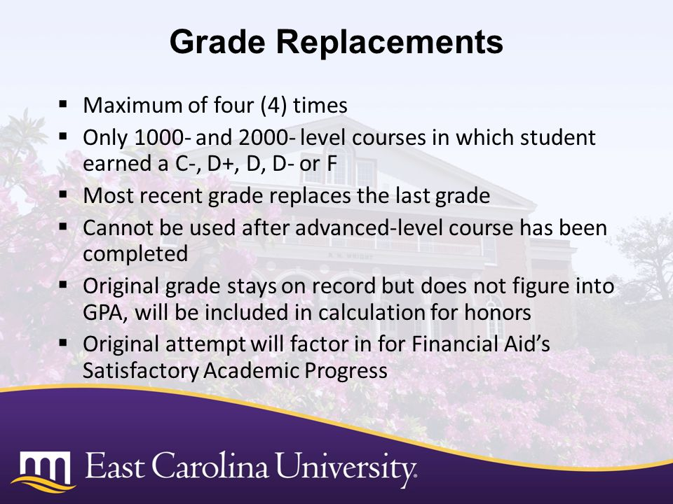 Grade Replacements Maximum of four (4) times