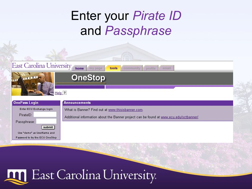 Enter your Pirate ID and Passphrase