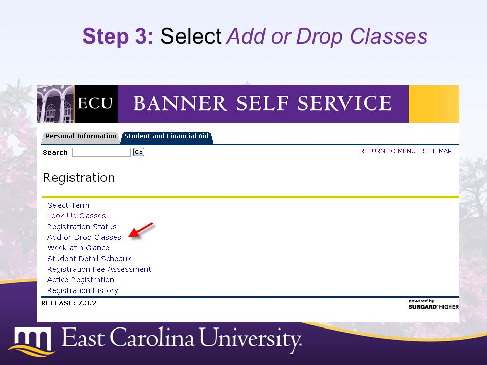Step 3: Select Add or Drop Classes